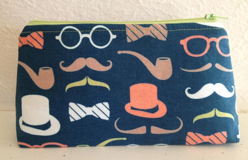 Top Hats and Moustache Zipper Pouch/Gadget Pouch image 0