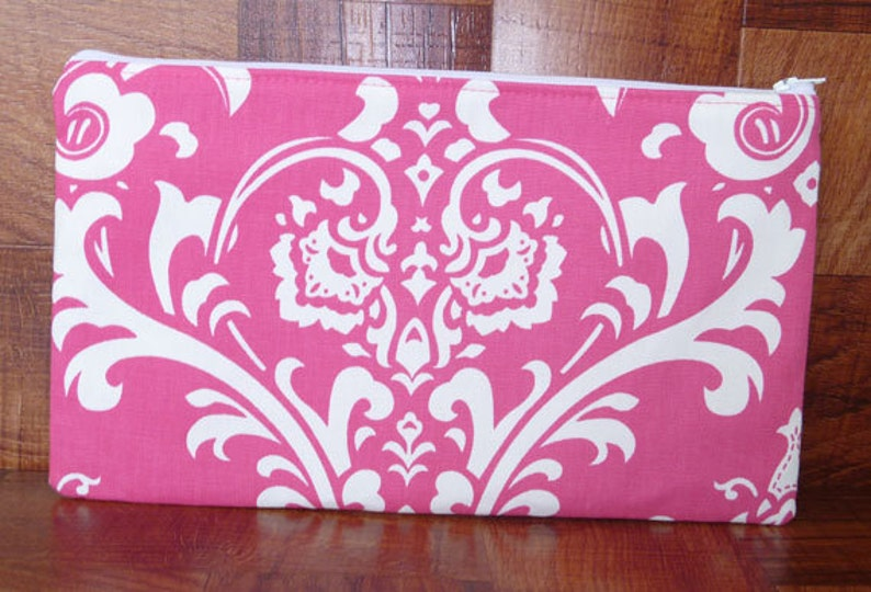 Clutch Purse  Hot Pink & White Damask image 0