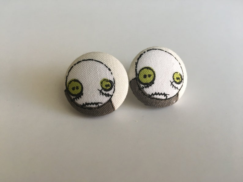 Zombie Button Earrings image 0