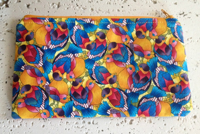 Stained Glass Birds Fabric Zipper Pouch/Gadget Bag image 0