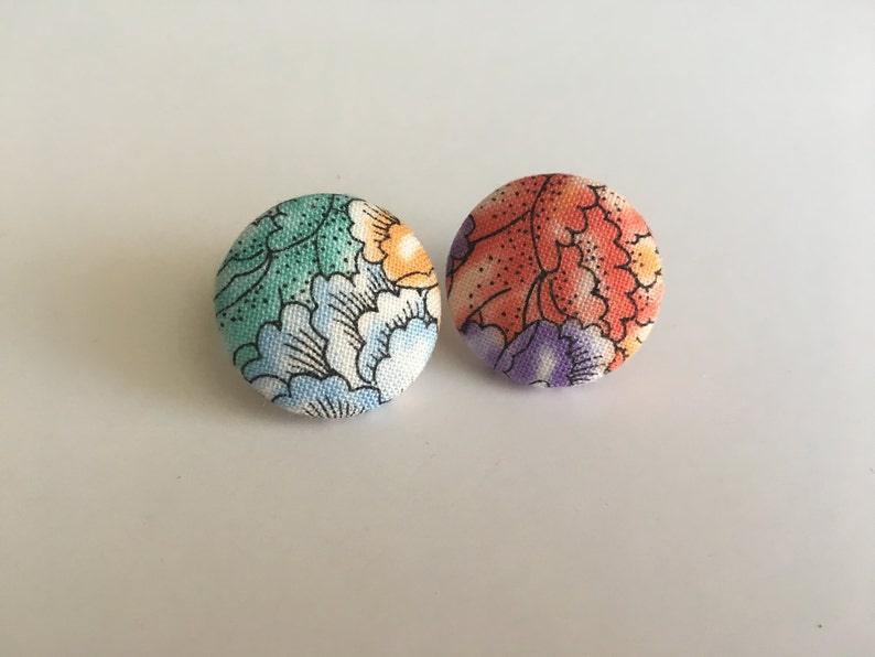 Flowery Fabric Button Earrings image 0