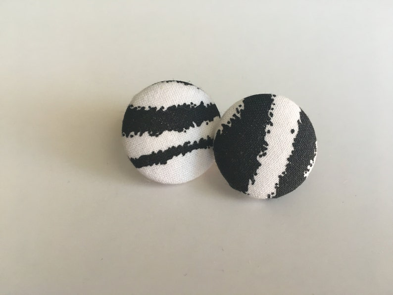 Zebra Print Fabric Button Earrings image 0