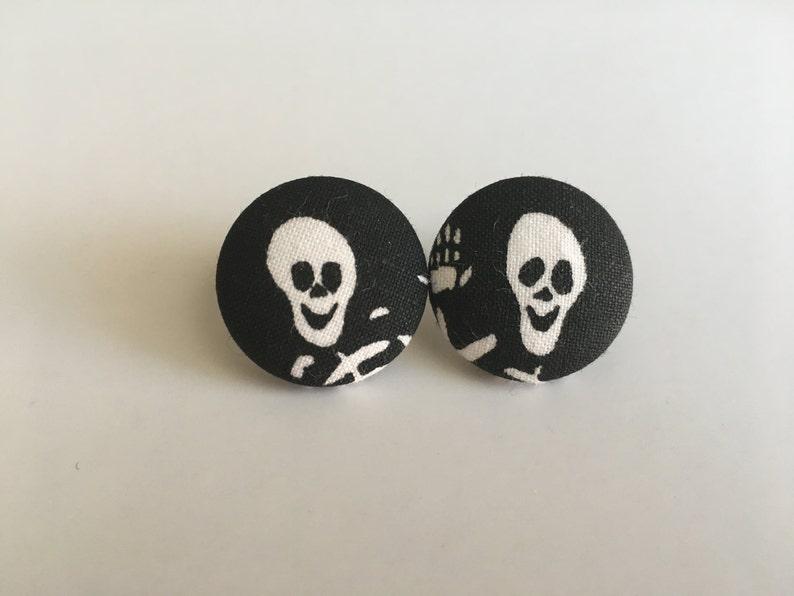 White Skeleton Button Earrings image 0