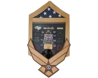 Air Force Shadow Box, Military Retirement Shadow Box, Flag Case Display, Master Sergeant through Chief Ranks