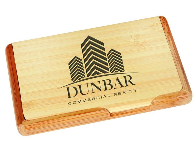 Engraved Bamboo Business Card Holder - Personalized Card Holder - DIsplay