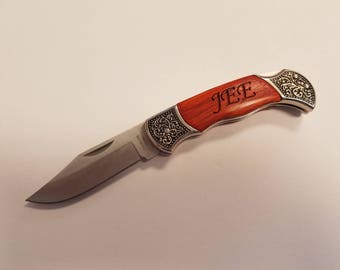 Engraved - Decorative Men's Hunting - Pocket Knife - Rosewood Handle