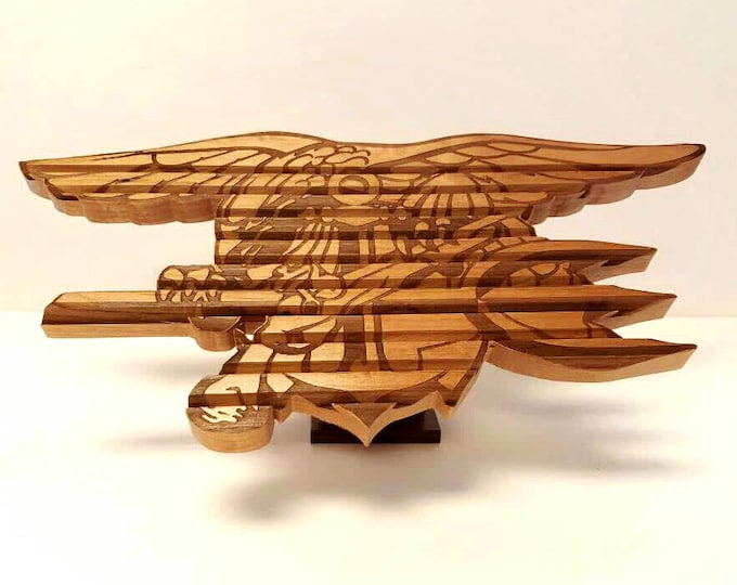 Military Custom Logo Challenge Coin Holder, Engraved Wood Coin Display Army, Air Force, Navy, Coast Guard, USMC Personalized Going Away Gift