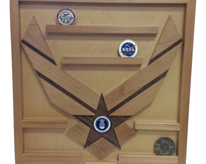 Air Force Challenge Coin Holder // 15 Coin Military Wall Mounted Coin Holder // Personalized Graduation Retirement Gift // Anniversary