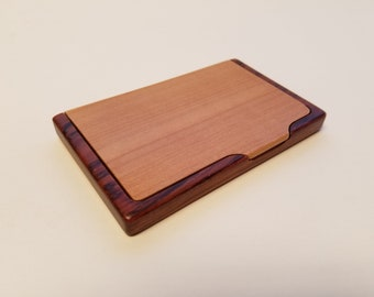Engraved Business Card Holder -Rosewood and Maple - Personalized - Engraved - Logo - Monogram