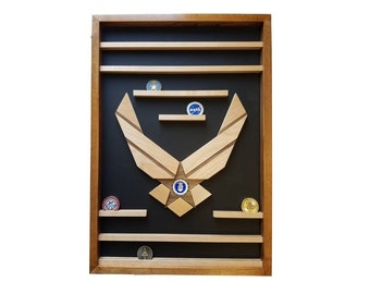 Air Force Challenge Coin Holder // Military Wall Mounted 50 Count Coin Display // Enclosed Personalized Graduation Retirement Gift
