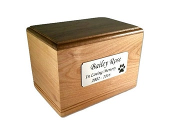 Cremation Pet Urn, Engraved Dog Cat Ashes, Keepsake Wood Box, Memorial, Personalized, Pet Loss Gifts, Custom
