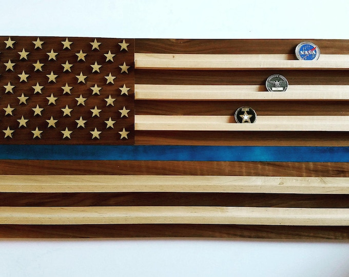 Police Flag Challenge Coin Holder, Military Thin Blue Line Coin Display, Law Enforcement Gift, American Retirement, DHS, Homeland Security