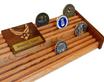 Air Force Challenge Coin Holder // 60 Coin Wood Display // Retirement Graduation Gift // Anniversary Coin Holder