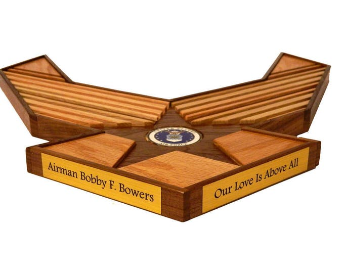 Air Force Emblem Challenge Coin Holder // 40 Count Military Display // Retirement Graduation Gift // Anniversary Wood Personalized Gift