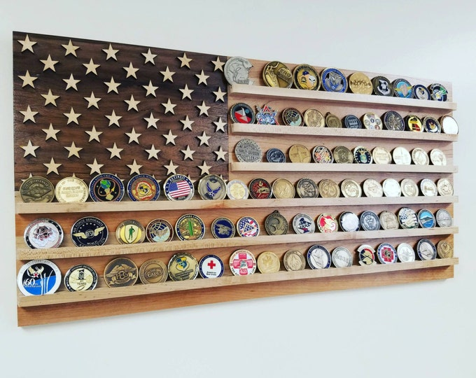 US Wood Flag 80+ Challenge Coin Holder, Cherry, Maple and Walnut, Military Coin Holder, Army, Navy, Coast Guard, Air Force