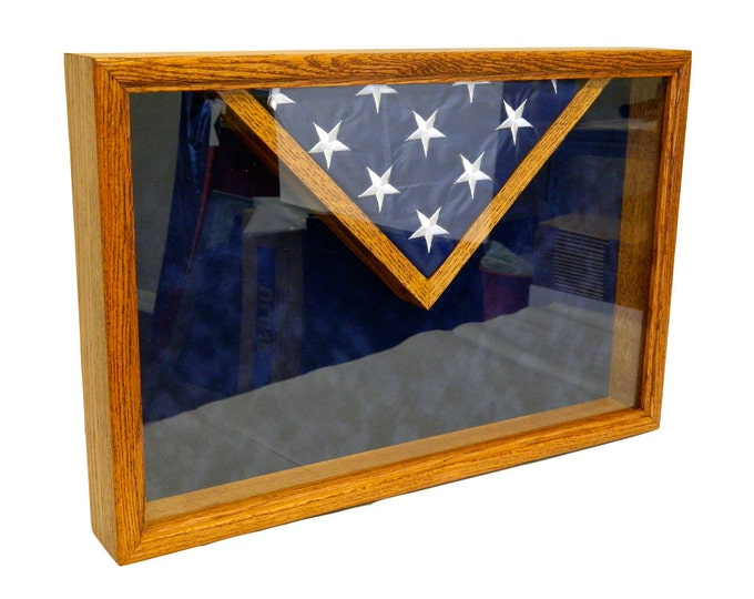 Military Retirement Shadow Box, American Flag and Certificate Wood Case, 3 x 5 Folded Flag, Engraved, Personalized Army, Air Force, Navy,