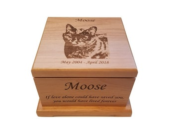 Cremation Pet Urn, Ashes for Dog Cat Engraved, 1 to 55 lbs, Keepsake Wood Box, Memorial, Personalized Photo Pet Loss Gifts, Custom Portrait