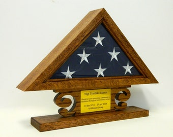 Military Retirement Flag Shadow Box, American Wood Case, 3 x 5 Folded Flag, Engraved, Personalized Army, Air Force, Navy, USMC, Coast Guard