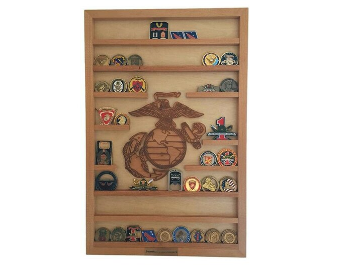 USMC Challenge Coin Holder, Military 60 Coin Display, Wall Mount, Military, Gift Marine Bootcamp, Retirement, Enlistment, Going Away