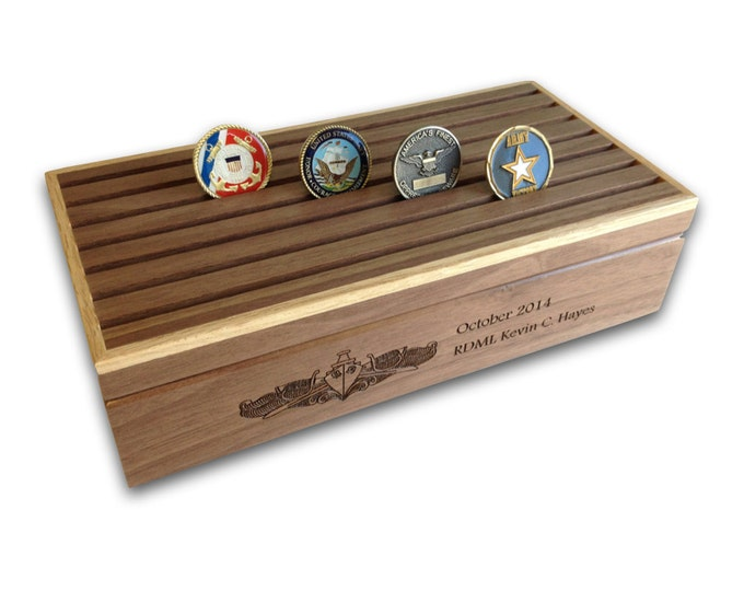 Military Challenge Coin Box Display, 42 Count Engraved Coin Holder, Personalized for Air Force, Army, Navy, Marine, Coast Guard, Retirement