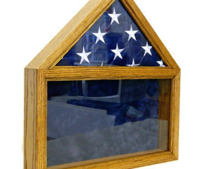 Military Retirement Flag Shadow Box, American Wood Case, 5 x 9 Folded Flag, Engraved, Personalized Army, Air Force, Navy, Burial Casket