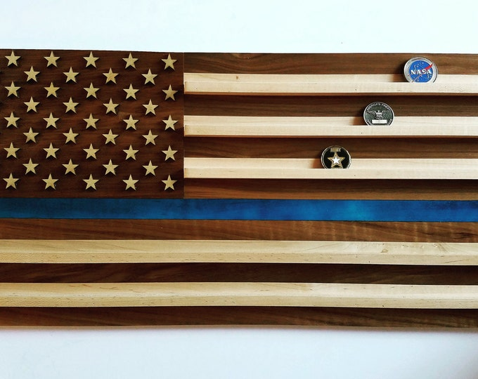 Thin Blue Line Challenge Coin Holder // Police Gift Blue Line Flag // Wood Coin Display // Personalized Anniversary Gift