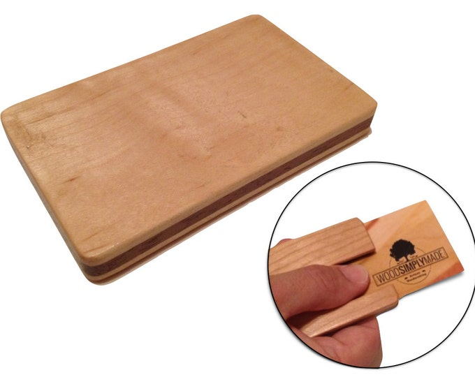 Engraved Business Card Holder - Maple - Mongram - Personalized - Logo