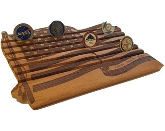 Challenge Coin Display // Military US Flag Coin Holder // 42 Count Patriotic Wood Display // Retirement Anniversary Graduation Gift