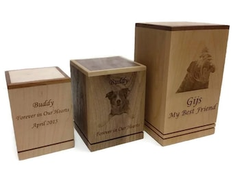 Cremation Pet Urn, Engraved Dog Cat Ashes, Keepsake Wood Box, Memorial, Personalized Photo, Pet Loss Gifts, Custom Portrait