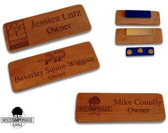 Set of 2 Custom Wood Name Badges/Tags