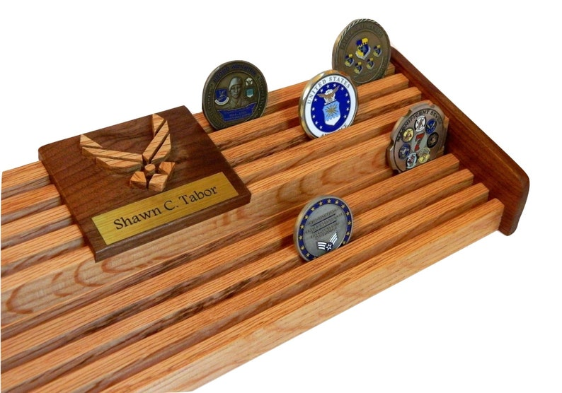60 Challenge Coin Display, Air Force Military Coin Holder Engraved