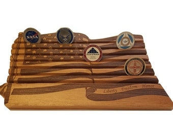 Military Challenge Coin Holder // American US Flag Coin Display // 42 Coin Coin Holder // Anniversary Gradutation Retirement Gift