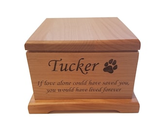Cremation Pet Urn, Photo Engraved Dog Cat Ashes, 1 to 55 lbs, Keepsake Wood Box, Memorial, Personalized, Pet Loss Gifts, Custom Portrait