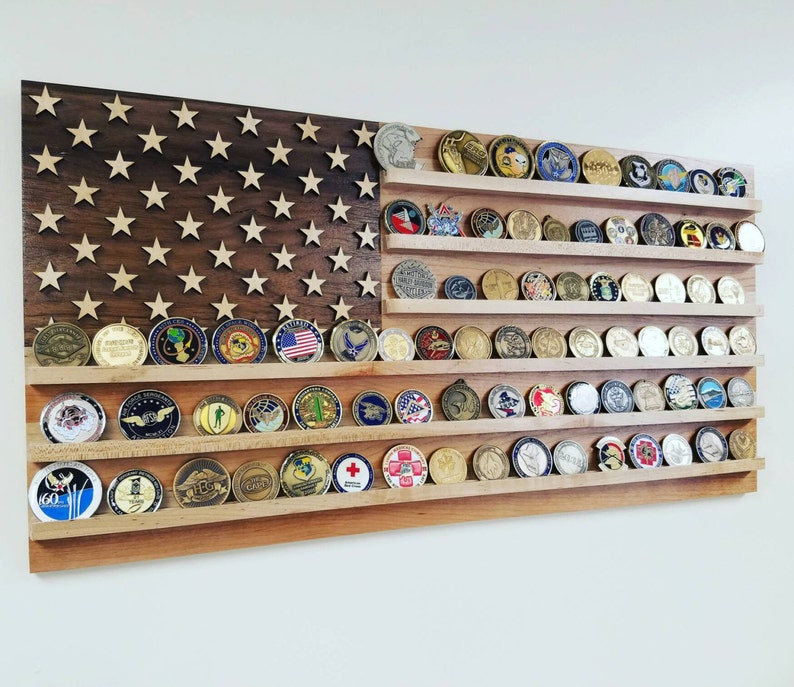 Military Challenge Coin Display, Wood American Flag Military Coin Holder,  Wall Coin Display Case