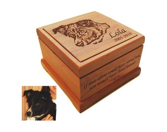 Cremation Pet Urn, Ashes for Dog Cat Engraved, up to 22 lbs, Keepsake Wood Box, Memorial, Personalized Photo Pet Loss Gifts, Custom Portrait