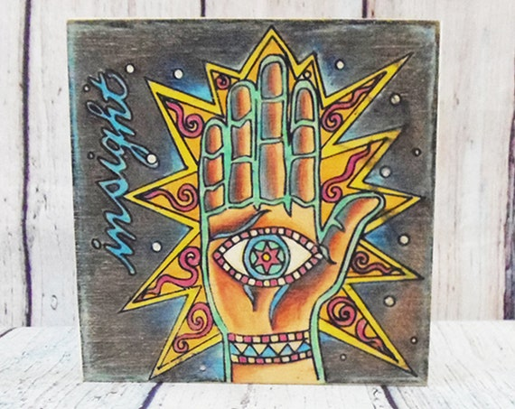 Finished Art Piece, Insight, Hamsa Hand, Colored Pencil, Wood Board, Reiki Gift, Gift for Yogis, Eye in Hand, Evil Eye, Gift for Teens