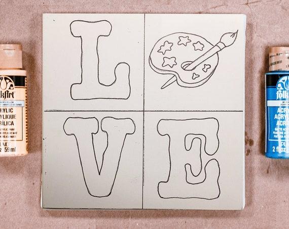 Wood Board, LOVE, Art Palette, Adult Coloring, Craft Kit for Kids, Make Your Own Art, Crafts forKids, DIY Home Decor, Sign Making Kit