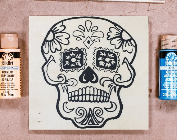 Wood Board, Craft Kit, Sugar Skull, Craft Kit, Day of the Dead, Dia de los Muertos, Adult Coloring, Make Your Own Art, Girls Night In