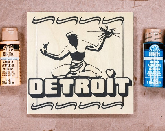 Wood Board, Spirit of Detroit, Adult Coloring, Adult Craft Kit, Make Your Own Art, Crafts for Adults, DIY Home Decor, Sign Making Kit