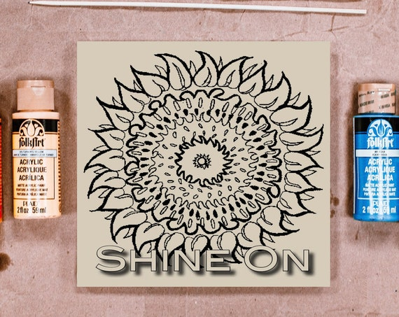 Pre Printed, Sunflower, Shine On, Adult Coloring, Kids Art Project, Make Your Own Art, DIY Home Decor, Wood Sign Kit, Girls Night In
