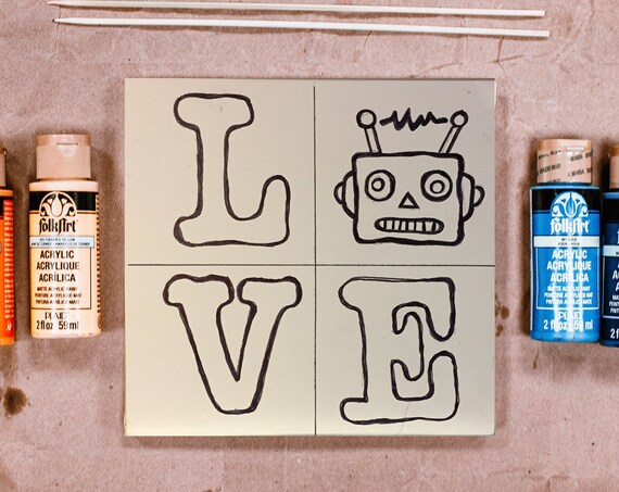 Wood Board, Love, Retro Robot, Craft Kit, Craft for Kids, Boy Crafts, Crafts for Geeks, Make Your Own Art, Family Craft, Geek Birthday Party
