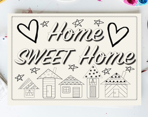 Wood Sign Kit, Home Sweet Home, DIY Home Decor, Girls Night In, Make Your Own Art, Adult Craft Kit, Adult Coloring, House Warming Gift