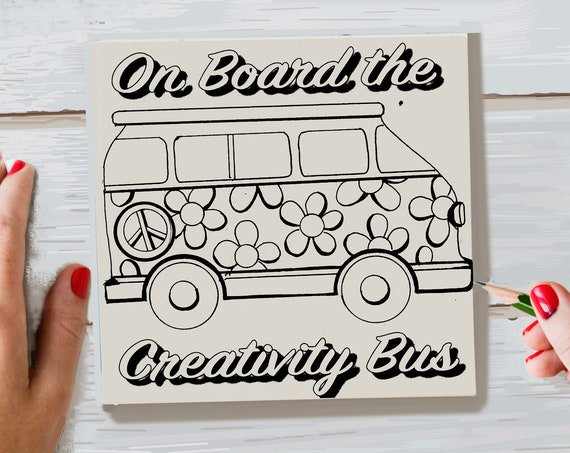 Craft Kit, DIY Panel, Wood Sign Kit, Craft Kit for Adults, Creativity Bus, VW Bus, Adult Coloring, Dorm Room Decor, Gift for Artists