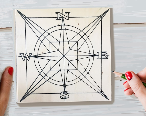 Wood Board, Compass, Adult Coloring, Adult Craft Kit, Make Your Own Art, Crafts for Adults, DIY Home Decor, Girls Night In, Wood Sign Kit