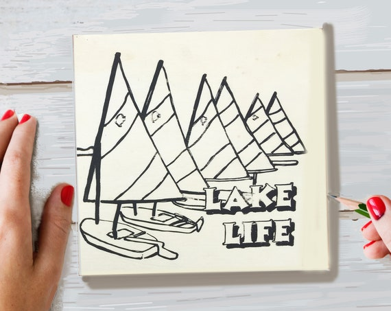 Pre Printed, Wood Board, Lake Life, Adult Coloring, Craft Kit for Adults, Make Your Own Art, DIY Home Decor, Girls Night In, Sailboats