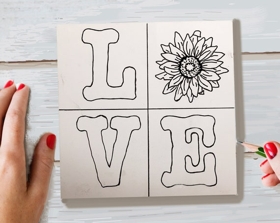 Wood Board, LOVE Sunflower, Adult Coloring, Make Your Own Art, Crafts for Adults, DIY Home Decor, Sign Making, Wood Sign Kit, Girls Night In