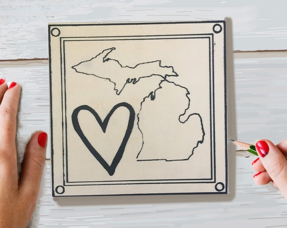 Craft Kit, Heart Michigan, Adult Coloring, Adult Craft Kit, Make Your Own Art, Crafts for Adults, DIY Home Decor, Sign Making Kit, Wood Sign