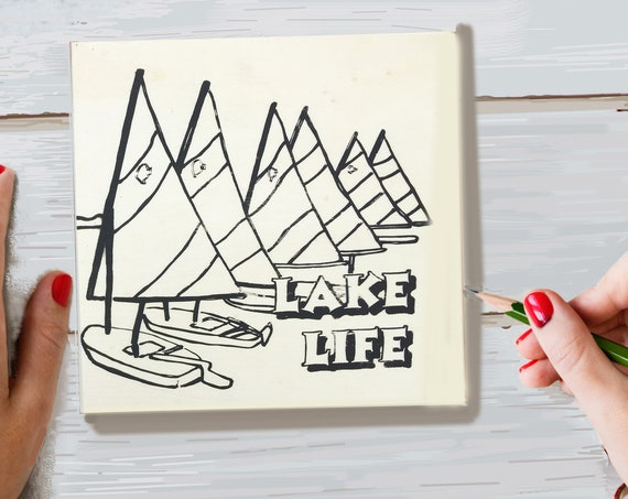 Wood Board, Lake Life, Adult Coloring, Adult Craft Kit, Make Your Own Art, Crafts for Adults, DIY Home Decor, Sign Making, Girls Night In