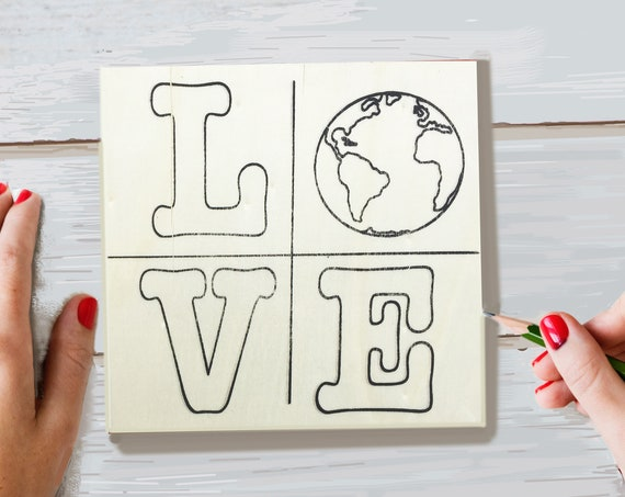 Wood Board, LOVE, Earth, Adult Coloring, Adult Craft Kit, Make Your Own Art, Crafts for Adults, DIY Home Decor, Sign Making, Planet Earth