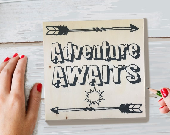 Craft Kit, Adventure Awaits, Adult Coloring, Adult Craft Kit, Make Your Own Art, Crafts for Adults, DIY Home Decor, Sign Making, Wood Sign